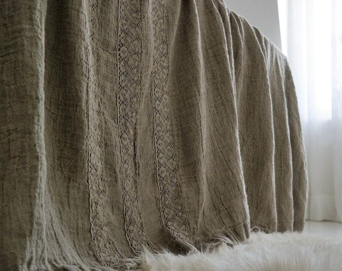 Linen bed cover, rough rustic style. With three decorative seams across for Queen size and four for King size, made of rough flax, stonewashed and softened, preshrunk.  100% pure French linen. SIZES:  QUEEN: 102 x 92 (260 cm x 235 cm) KING: 114 x 106 (290 cm x 270 cm)  ALSO OTHERS COLORS AVAILABLE:  WHITE - to match with linen bedding optic white color GREY - to match with linen bedding grey color NATURAL GREY ECRU - to match with linen bedding natural color  WHITE CREAM…