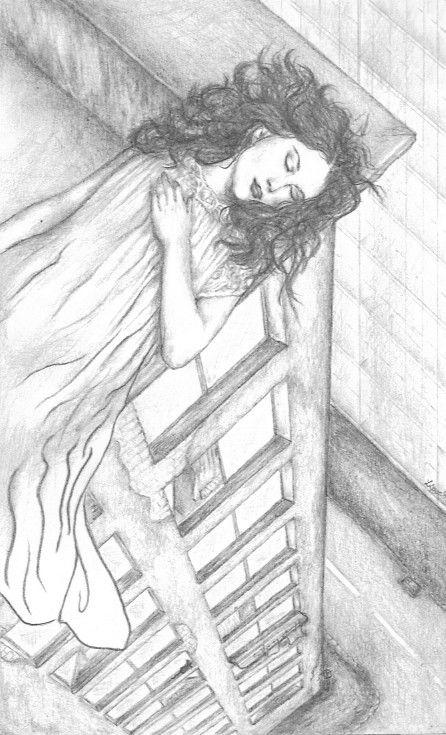 girl dreaming on the edge of the house by Folkana.deviantart.com on @deviantART