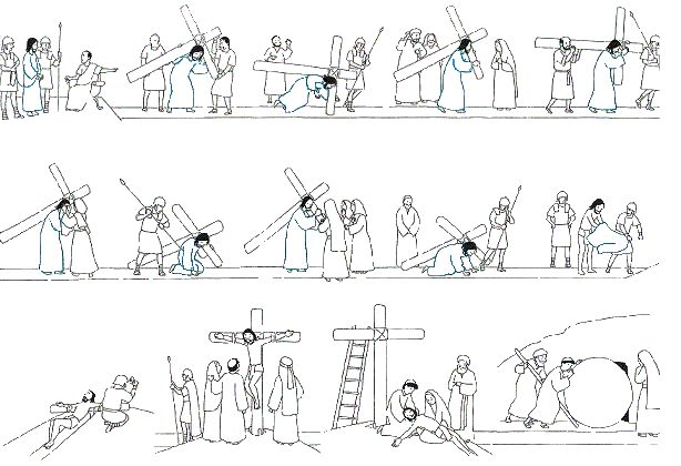 Stations of the Cross Coloring or Meditation Page for Good Friday.