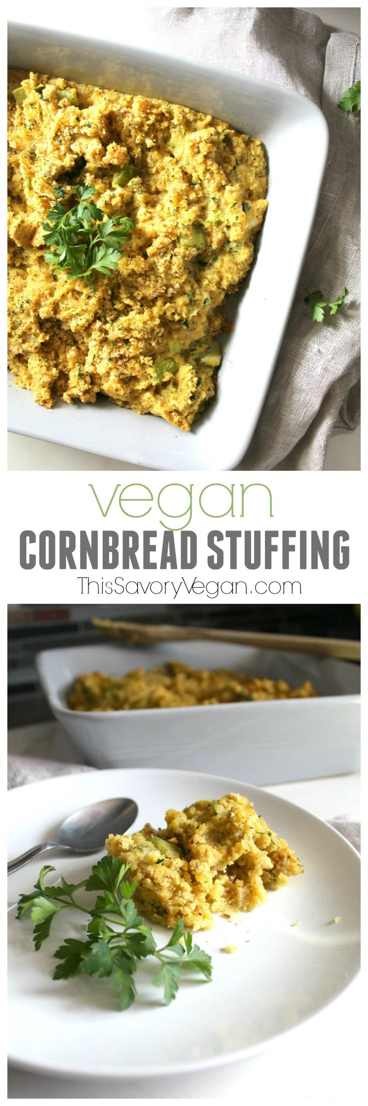 Have a delicious Thanksgiving with this Vegan Cornbread Dressing | ThisSavoryVegan.com