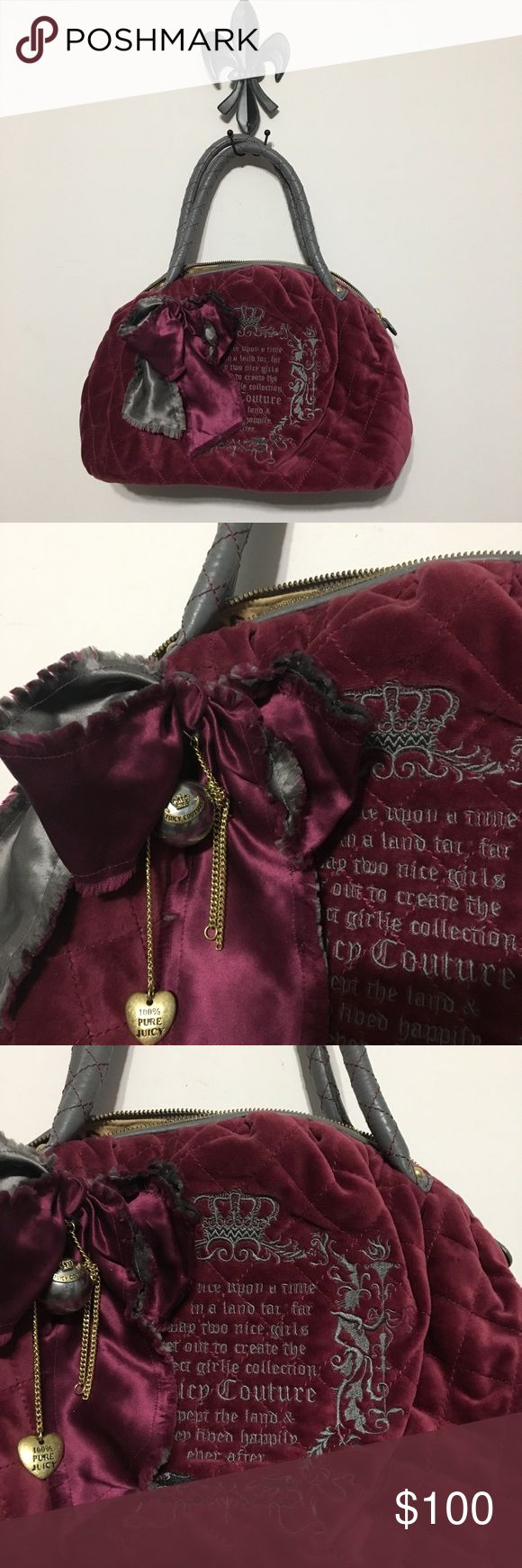Juicy Couture Nordstrom Velvet Quilted Handbag Juicy Couture Nordstrom Velvet Quilted Maroon Handbag Once Upon A Time.                                Fabulous handbag!!! Great condition as shown in pics. Purchased from Nordstrom.  Please note all sales final. Thank you for viewing🎀 Juicy Couture Bags Satchels