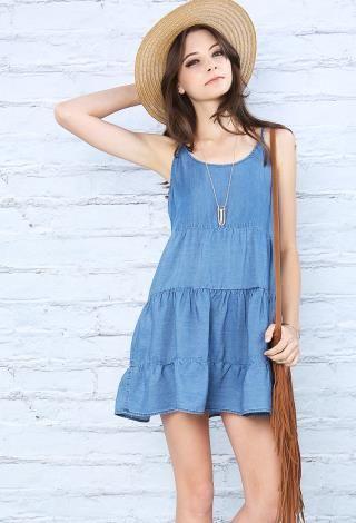 Chambray Cami Dress | Shop Day Dresses at Papaya Clothing