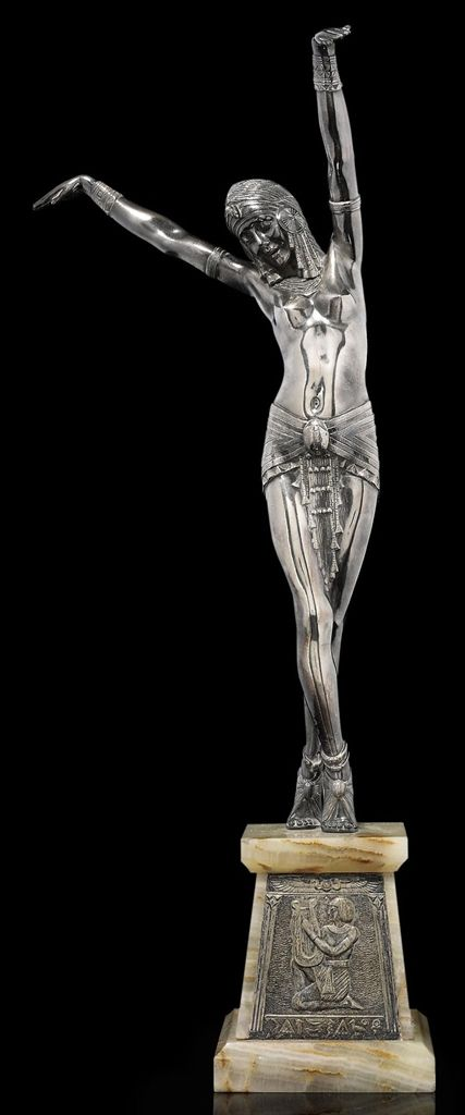 EGYPTIAN DANCER, CIRCA 1925 - silvered-bronze, onyx base inset with silvered bronze plaque