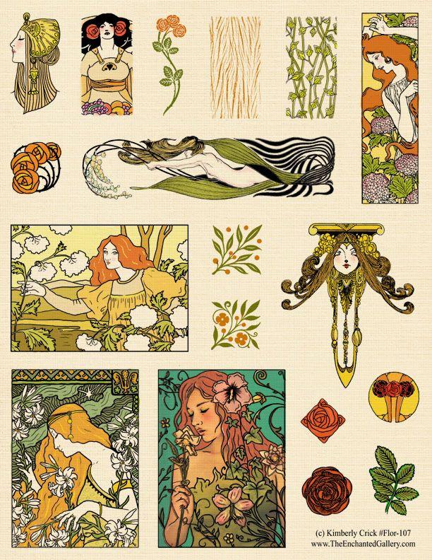 Images dautrefois: Art nouveau, décoration pour découpage