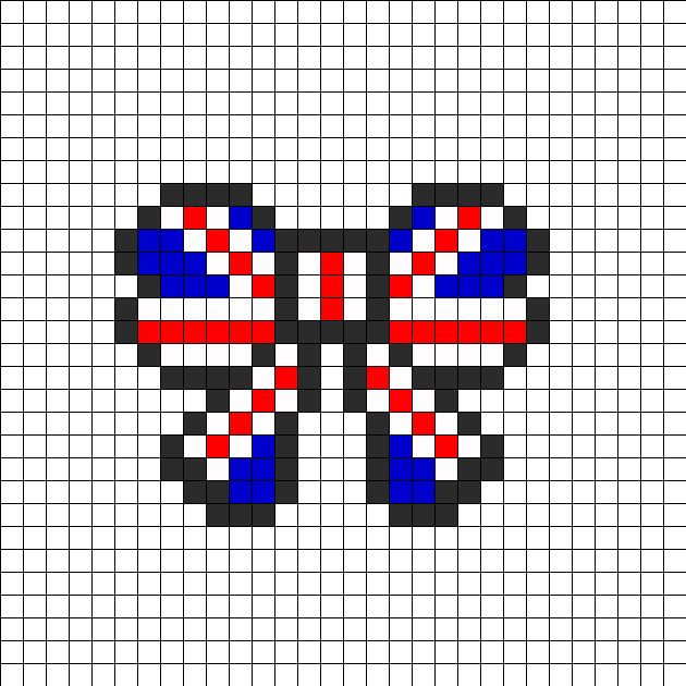Union Jack British Flag Bow Perler Perler Bead Pattern | Bead Sprites | Misc Fuse Bead Patterns I just wanna point out that this would work just as well for a teeny Union Jack cross stitch. :)