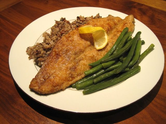 Pan Fried Trout With Wild Rice And Green Beans Trout