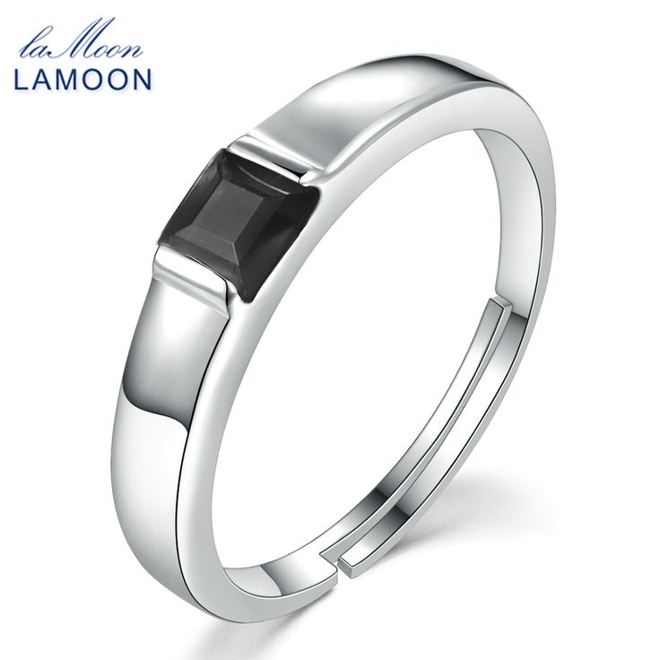 Lamoon 925 Sterling Silver Simple Ring Fine Jewelry S925 Classic 4mm Natural Square Black Chalcedony For WomenLMRI035 //Price: $US $9.24 & FREE Shipping //     #hashtag1