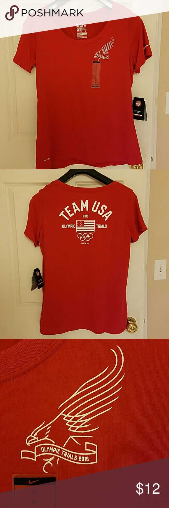 "Olympic Trials 2016 Nike Dri-fit Tee NWT. Olympic Trials 2016 Nike Dri-fit Tee. Scoop neck.  Athletic Cut. 20"" from armpit to armpit; 27"" from shoulder to hem.   No Trades. Lowball offers will be ignored or declined. Thank you. Nike Tops Tees - Short Sleeve"