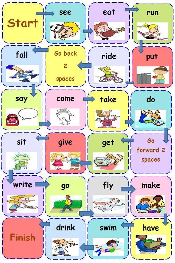 """irregular verbs game for junior b created by Anastasia Krasanaki and she says:""""Έφτιαξα αυτό το boardgame για τη b junior μου. Δουλεύω το the cat is back, επομένως έχω βάλει τα ανώμαλα ρήματα που δίνει το συγκεκριμένο βιβλίο. Θα μπορούσατε να τους δίνετε multiple choice αν θεωρείτε ότι είναι δύσκολο να σας δώσουν απευθείας την απάντηση."""""""