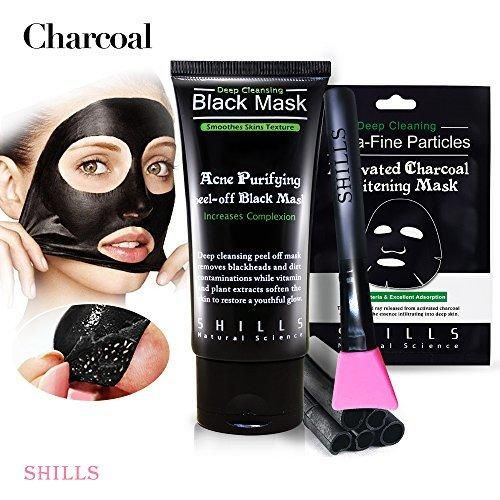 SHILLS Black Mask Blackhead Peel Off Mask Blackhead Remover Mask Charcoal Mask Black Mud Face Mask x1 black mask x1 Blackhead Cleansing Brush Kit