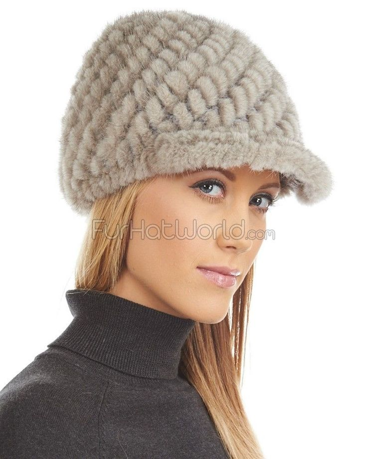 Lindsay Knit Mink Riding Cap in Stone: FurHatWorld.com