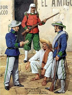 The Mexican Adventure: Uniforms: Mexican Imperial Troops 3. Officer, 1. Private, Cazadores de Mexico, 1866-67 2. Private, 2nd Infantry Bde., 1866-67