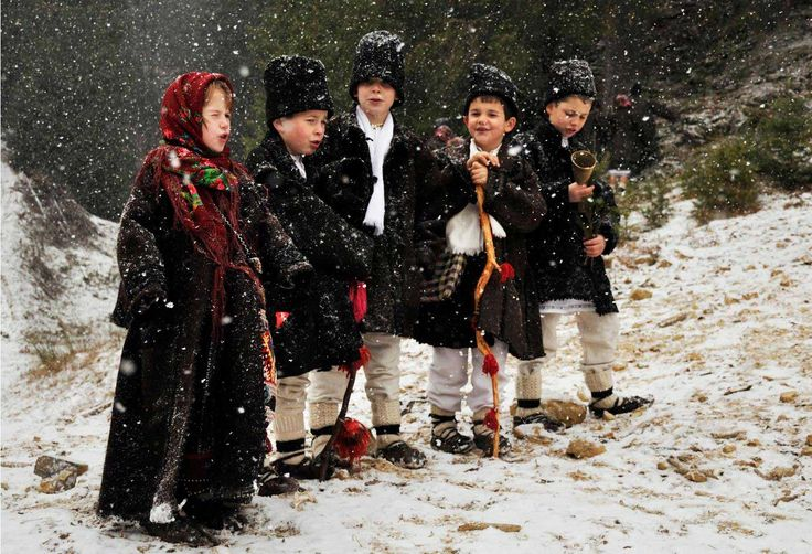 Kids going Christmas caroling in Romania