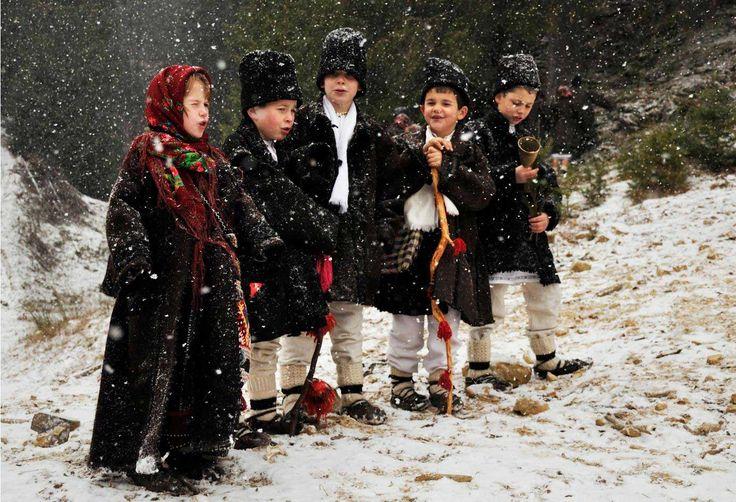 Kids going Christmas caroling in Romania