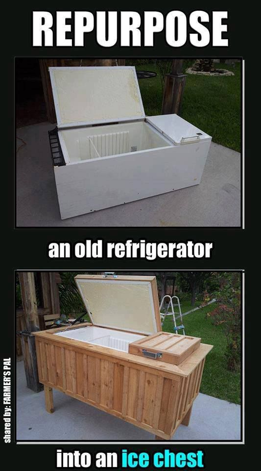 Old refrigerator becomes a large beverage cooler. ummm, awesome!