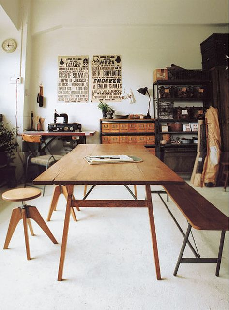 wonderful workspace: Idea, Benches, Studios Spaces, Offices Spaces, Workspace, Interiors Design, Work Spaces, Long Tables, Trucks Furniture