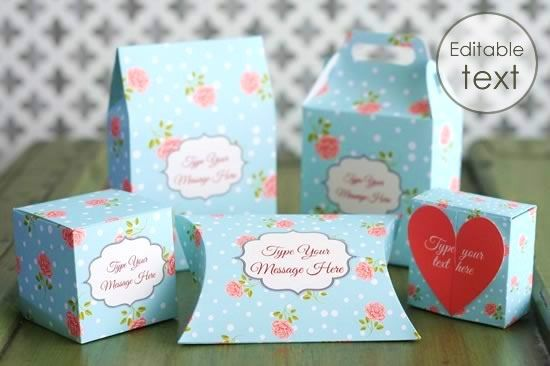Printable Gift boxes . This website has some lovely printable templates available. You can edit the labels on the gift boxes to personalise your gift. http://www.homemade-gifts-made-easy.com/printa