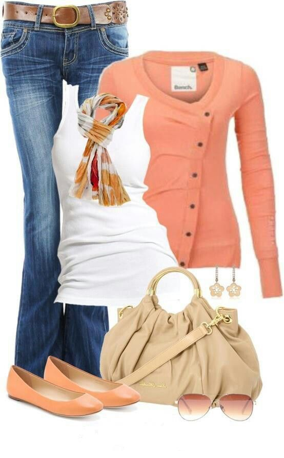 Casual Smart Midseason Jeans Peach