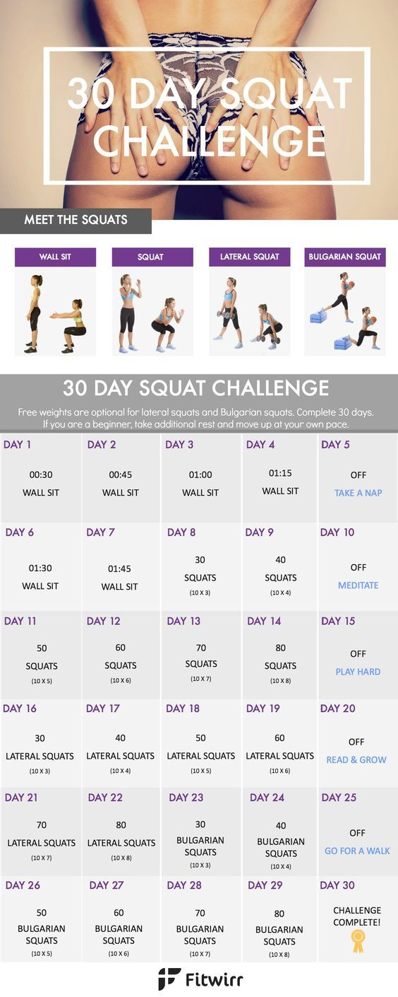 Bikini seasons is nearly here. Take this 30 day squat challenge to whip your butt into shape and trim your inner and outer thighs.: