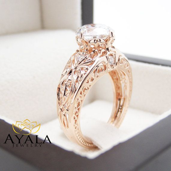 14K Rose Gold Filigree Right Hand Ring Antique by AyalaDiamonds