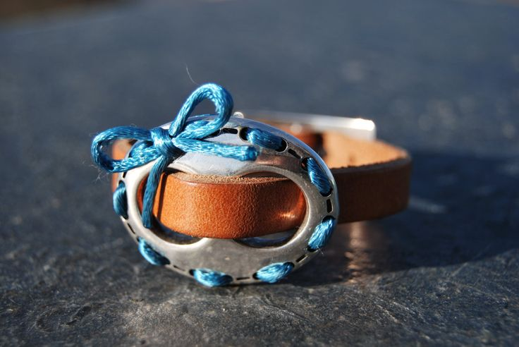 Silver and leather bracelet with teal bow by NorthernlightsNO on Etsy
