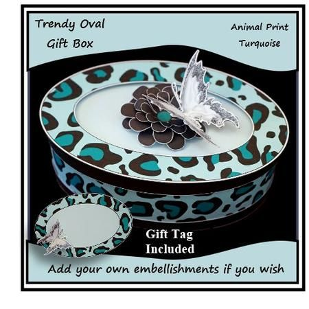 Trendy Oval Gift Box Turquoise on Craftsuprint - Add To Basket!