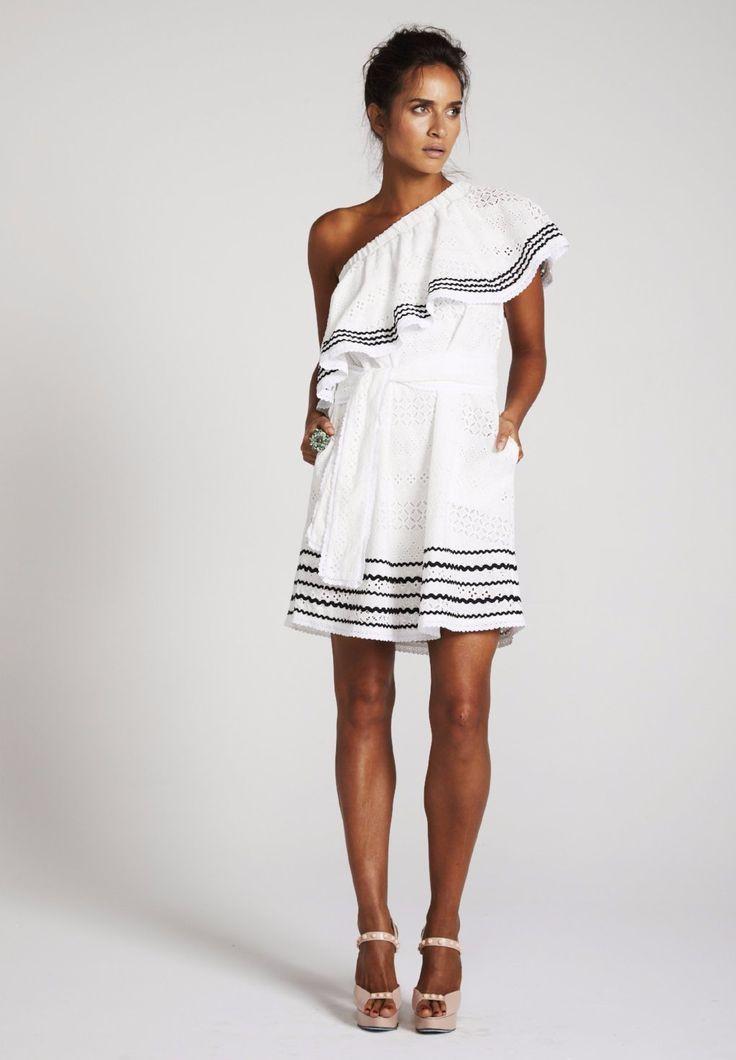 Binny - 'Cariocas' One Shoulder Ruffle Dress With Waist Tie