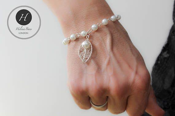 Silver Pearl leaf bracelet bridal silver pearl skeleton leaf