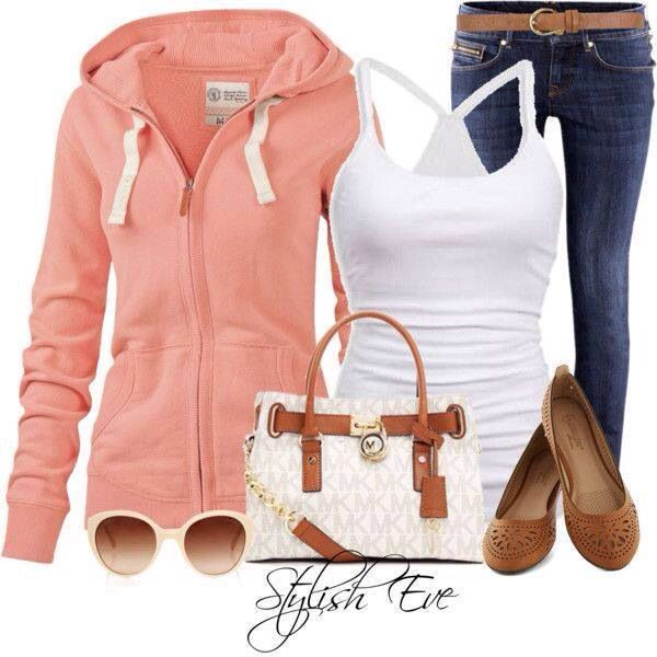 I love this peach hoodie, glasses and shoes and MK