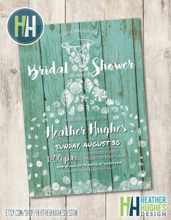 beach bridal shower invite, printable invitation seashells boardwalk vintage mint and white beach theme shabby chic invitation personalize