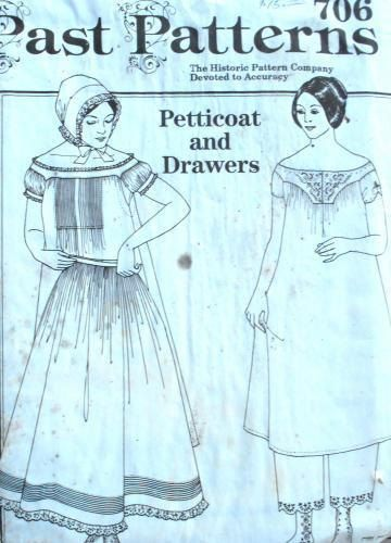 Past Patterns 706 petticoat and drawers, pioneer clothes, modest clothes, historical pattern, 1850s clothes, multi size pattern