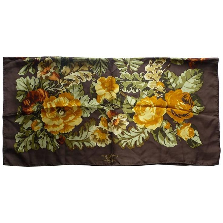 Helen David Eccentrics Silk Twill Scarf (90x90cm) | From a collection of rare vintage scarves at https://www.1stdibs.com/fashion/accessories/scarves/