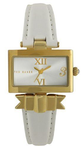 Ted Baker Women's TE2077 About Time Custom Square Analog 3 O'clock Watch Ted Baker. $135.00. Silver dial with gold accents; Limited lifetime warranty. Water-resistant to 99 feet (30 M). Stainless steel case and stainless steel caseback. Japanese Analog 3-Hand movement. High grade genuine leather strap