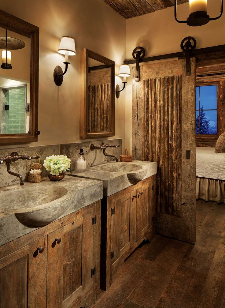 Big Sky Journal - The masterbathroomshowcases acustom pairof pouredcementsinks.