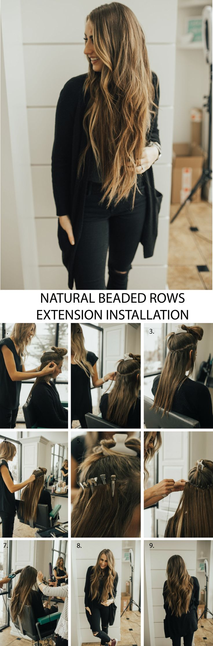 Step by step tutorial for natural beaded row hair extensions with Bohyme hair.