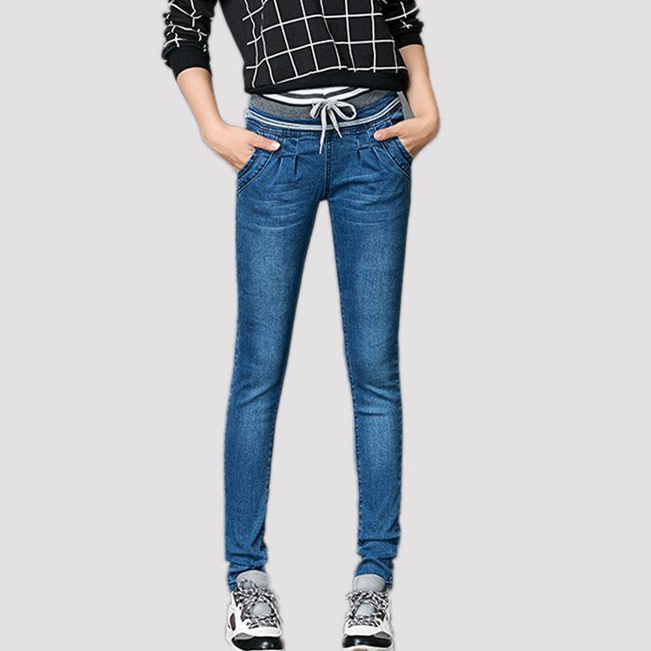 Джинсы Женщина плюс Размер Повседневная высокая Талия женщины джинсы узкие Женщины Джинсовые Брюки Синие брюки для женщин
