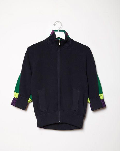 Sacai | Ribbed Sweater-Jacket | La Garçonne