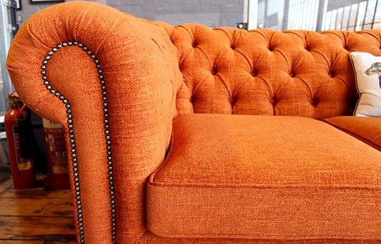 Orange 1 1/2 Seat Chesterfield Sofa - WARINGS Store