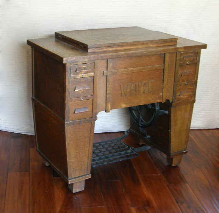 antique white family rotary sewing machine in mission craftsman style cabinet