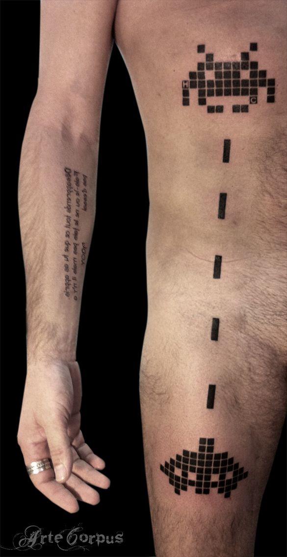 pierrot tattoo tatoueur arte corpus marseille space invaders