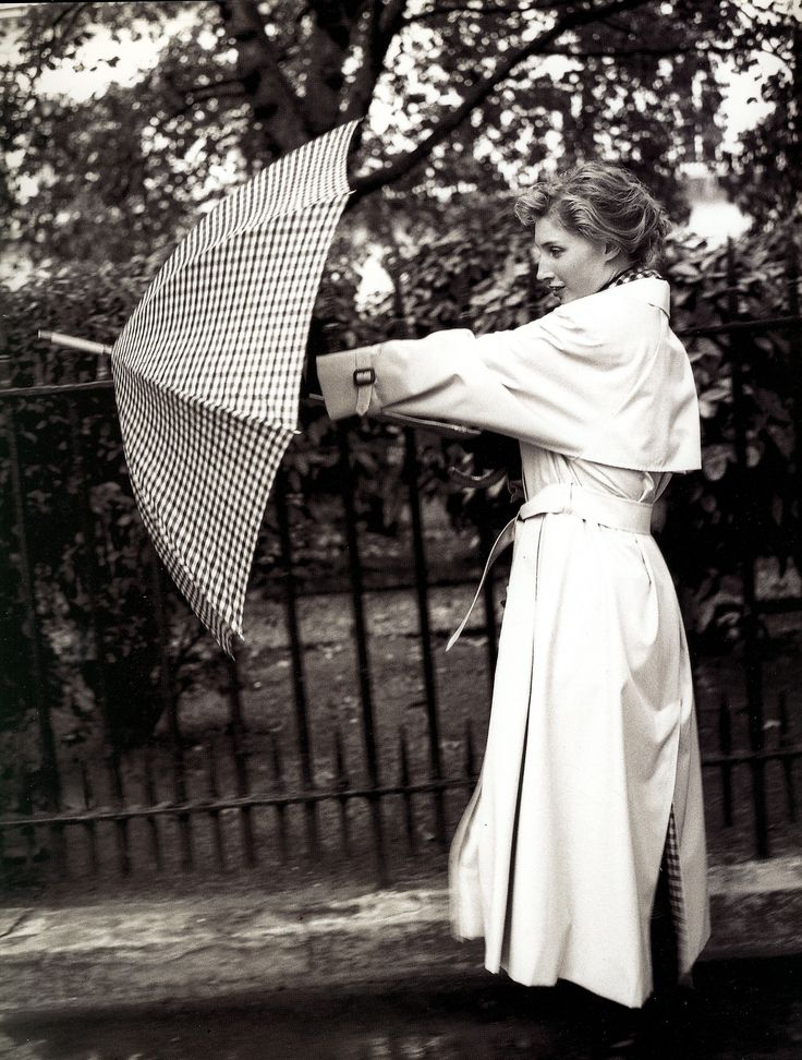 1950 S Woman Opening A Rain Umbrella While Wearing A