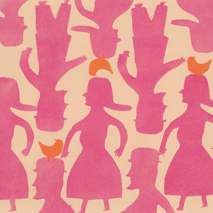 tictoctac limited editionsCrowd Greeting, Pattern, Orange Birds, Pink And Orange Art, 2D Design, Greeting Cards, People, Design Studios, Colors Pink Rosé M Emil Tickle