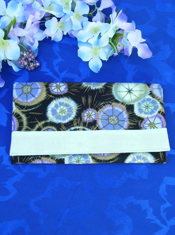 SOLD Trifold Fabric Clutch Wallet  in Purple Green by SpiritPenny, $33.00  Thank You for your Purchase!