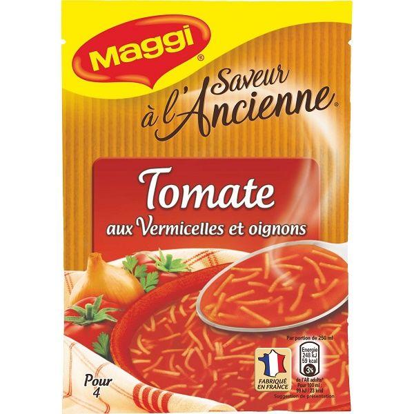 Féculents et légumes 81% : vermicelles 37% (semoule de blé dur), farine de blé, tomate 16%, fécule de pomme de terre, oignon 0,5%, sel, sucre, exhausteur de goût : glutamate de sodium, jus de betterave rouge concentré, arômes, huile de tournesol, ail, persil, laurier, thym, graines de céleri, extraits naturels de poivre et de paprika.