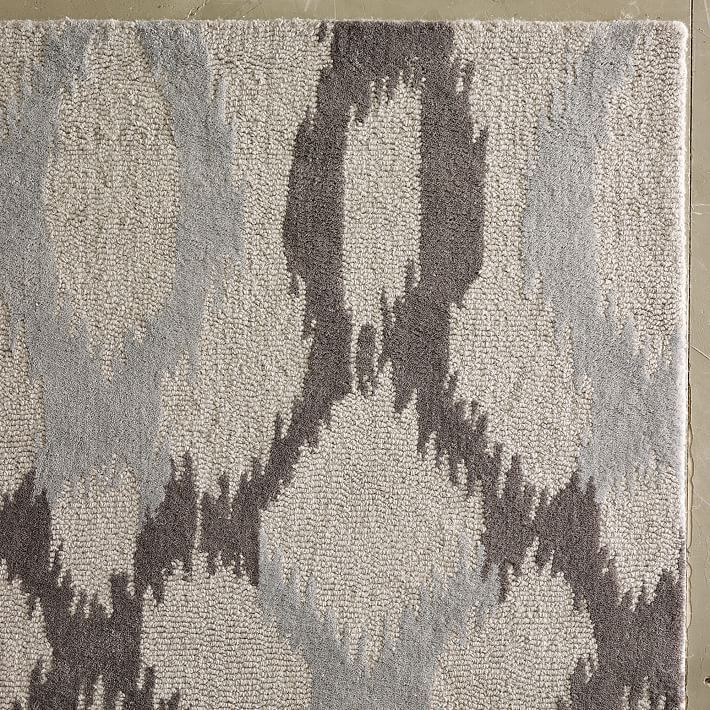 $408 - West elm Ikat Links Frost Gray 8X10 Persian wool area area rugs #Tagavailable…
