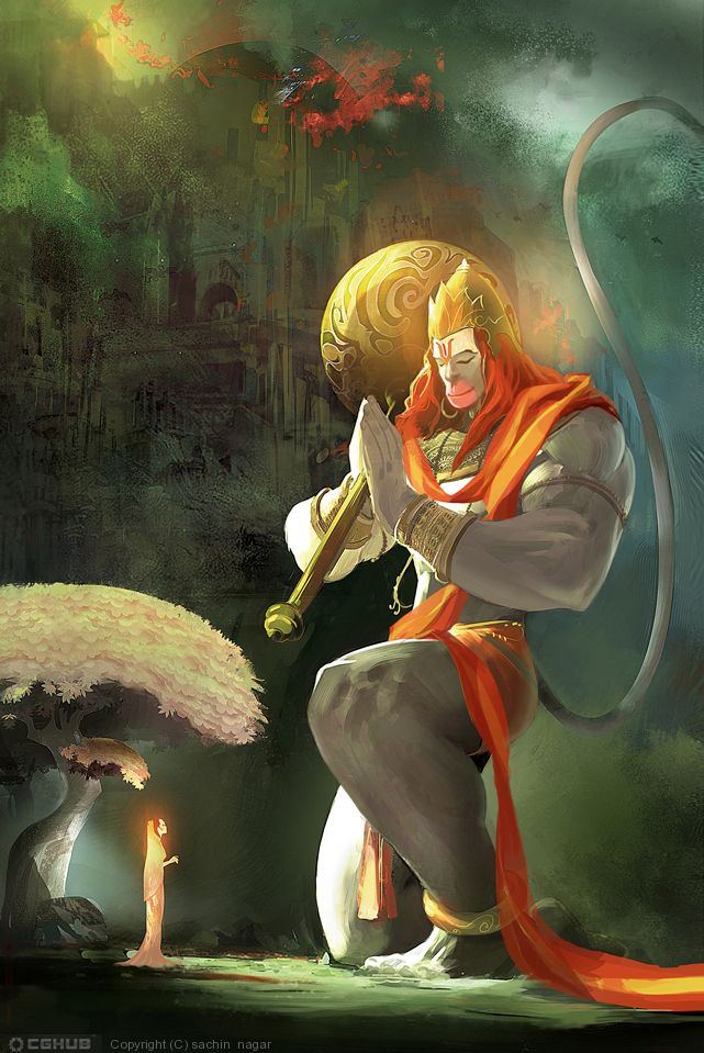 Gifted with the power of his divine father, he soared through the heavens toward the sun. Vāyu went with him, covering him with a cool breeze so that he would not be burned by the sun. The sun-god also withheld his blazing rays as he understood that Hanumān was a great servant of Viṣṇu who would later assist Him on earth.