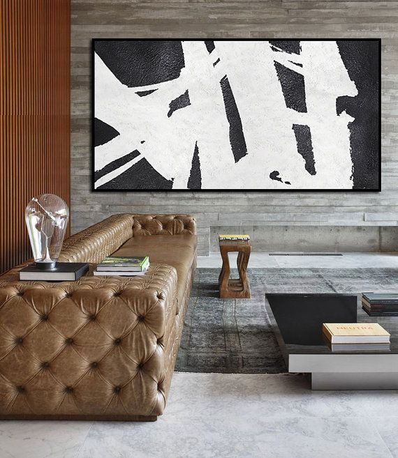 "Extra Large 72"" Horizontal Acrylic Painting On Canvas, Minimalist Painting Canvas Art, Black And White , HAND PAINTED Original Art."