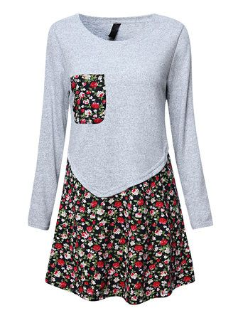 Casual Floral Patchwork Long Sleeve Women T-shirt Dress at Banggood