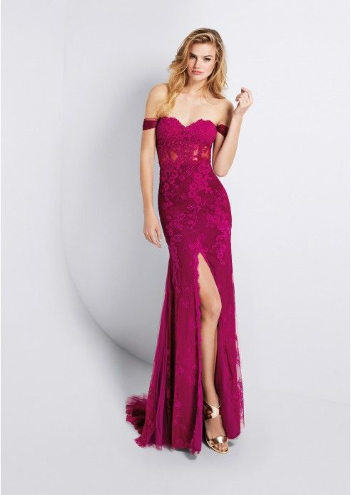 Lace Evening Dress Sheath/Column Off-The-Shoulder Sweep Train With Pleated (S10234116PRE)