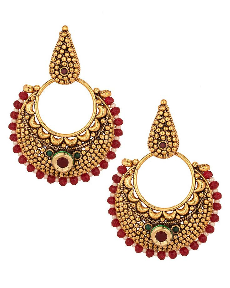 Lovely Crescent: Earrings with White, Maroon Bead Border, Gold Plating